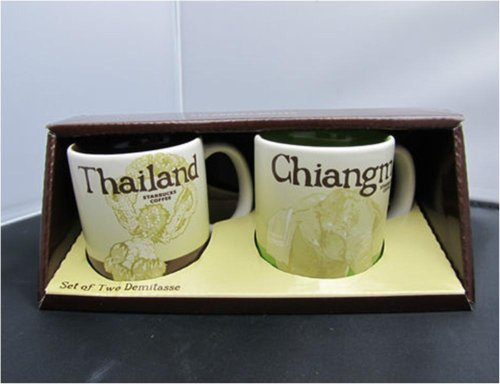 New Starbucks Coffee Set Of 2 Demitasse Espresso Cups City Collector Series Thailand - Chiangmai Mug Tea Mint