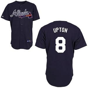Justin Upton Atlanta Braves Alternate Navy Replica Jersey by Majestic by Majestic
