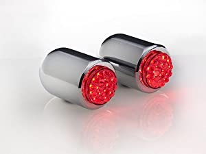 Chrome LED Bullet Style Tail or Brake Lights with Red LEDs in Chrome Mini Bullet Housings