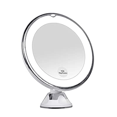 KEDSUM 10x Magnifying LED Lighted Travel Makeup Mirror, Bathroom Vanity Mirror with Strong Suction Cup, Daylight Color Illuminated Cosmetic Mirror,360 Degrees Rotates,Battery Operated