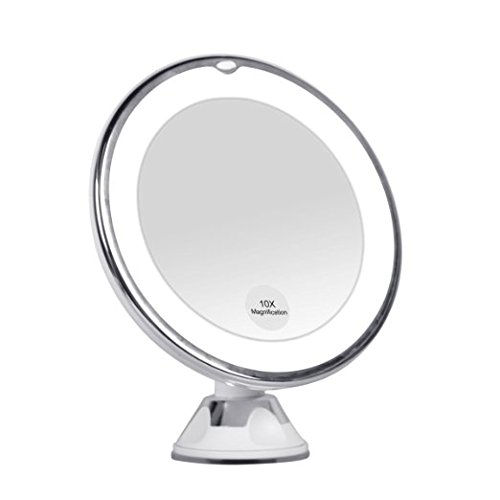 KEDSUM 10x Magnifying LED Lighted Travel Makeup Mirror Bathroom Vanity With Strong Suction Cup Daylight Color Illuminated Cosmetic Mirror360