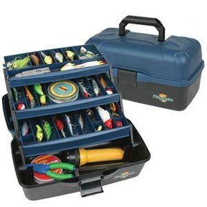 Flambeau Tackle 3 Tray Tackle Box (Black/Blue, 15.5x8.75x8.25-Inch)