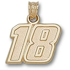 Kyle Busch Medium Driver Number 18 1 2 Pendant - 14KT Gold Jewelry by Logo Art