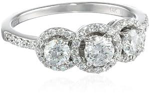 14k White Gold Three-Stone Diamond Ring (1cttw, H-I Color, I2-I3 Clarity), Size 7