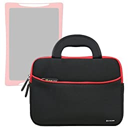 Evecase Slim Handle Carrying Portfolio Neoprene Sleeve Case Bag Compatible with nabi DreamTab HD8 with WiFi 8-inch Touchscreen Tablet PC - Black