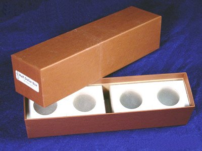 Single Row Storage Box & 100 2x2 Holders HALF DOLLARS