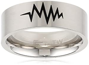 Men's Stainless Steel with Black Lacquer Pattern Ring, Size 9