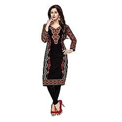Stylish Girls Women Cotton Printed Unstitched Kurti Fabric (SG_K1022_Black_Free Size)