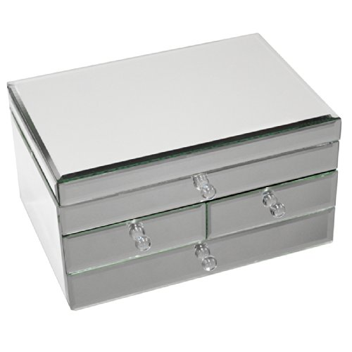 Urban Designs Legacy Mirrored Glass 3 Drawer Jewelry Box