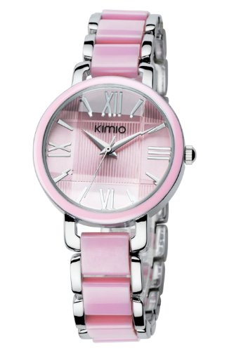 40 Pink Big Rome Digital Diamond Three-Dimensional Surface Metro Grand Analog Display Japanese Quartz Stainless Steel Watch