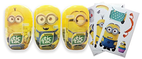 Minions Banana Flavored Tic Tacs with Bonus Stickers Bundle (3 200 count bottles and 3 stickers)