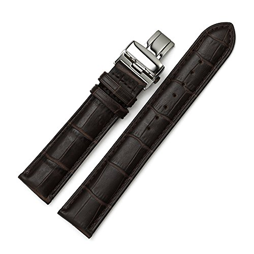 Istrap 16Mm Genuine Calf Leather Padded Deployant Watch Band Double Push Button Buckle - Brown 16