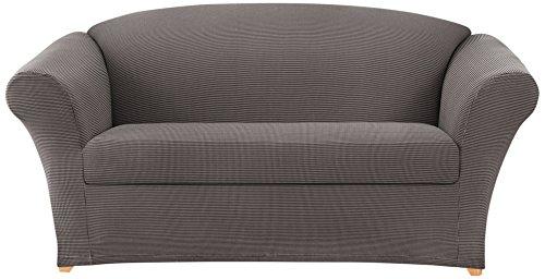 Sure fit stretch 2 tone honeycomb 2 piece separate seat for Separation decorative entre 2 pieces