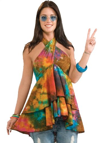 Forum Novelties Women's 60's Hippie Revolution Ruffle Top Halter Blouse