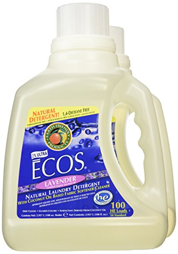 Earth Friendly Products Ecos 2x Liquid Laundry Detergent, Lavender, 100-Ounce Bottle (Pack of 2) (Clothes Washer Detergent compare prices)