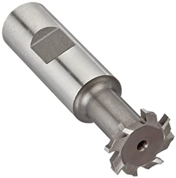"Niagara Cutter N10860 T-Slot Shank Type Cutter, High Speed Steel, Uncoated (Bright), Weldon Shank, 10 Helix Angle, 1"" Cutter Diameter, 8 Tooth, 5/32"" Width"