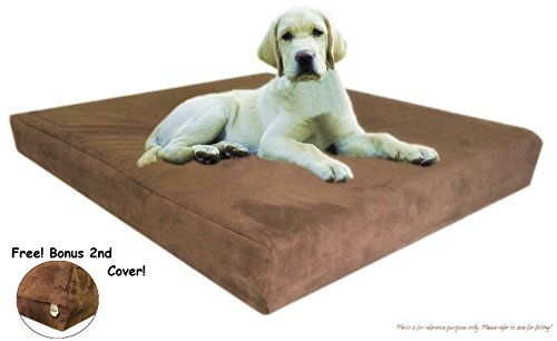 40''X35''X4'' Top Quality Chocolate Brown Anti Slip Washable Microfiber Suede Waterproof Therapeutic Orthopedic 100% Solid True Dense Memory Foam Pad Pet Dog Bed Crate Free 2Nd External Cover front-662759