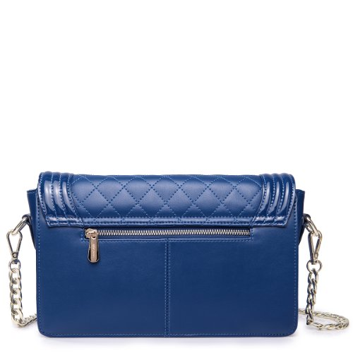 Nucelle Women's Genuine Leather Diamond Quilted Shoulder Handbag W/shoulder Chain Strap (Blue)
