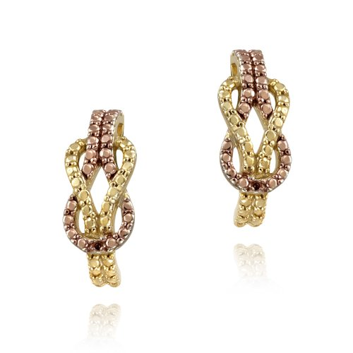 18K Gold over Silver Two-Tone Rose Gold Red Diamond Love Knot Earrings