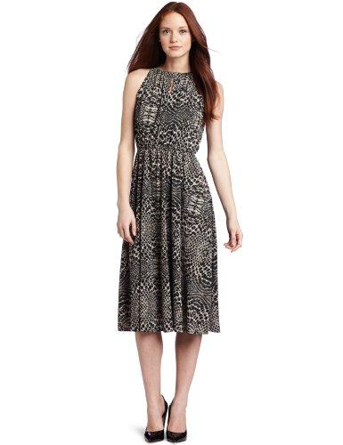 Kenneth Cole New York Women's Petite Diamond Back Snake Printed Midi Dress