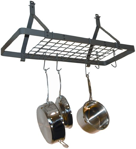 Rack It Up Rectangle Ceiling Pot Rack (Expandable), Steel Gray