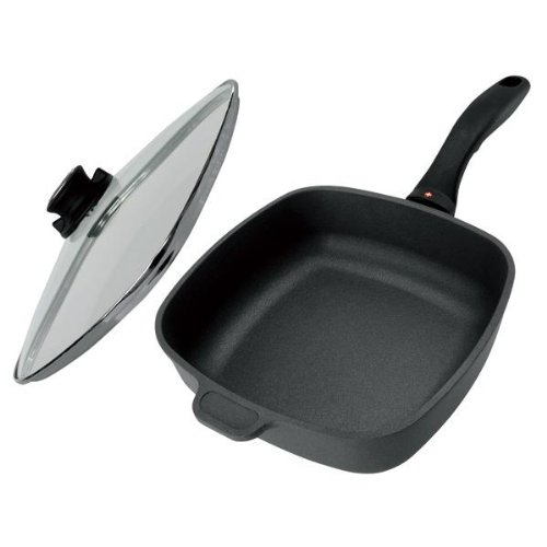 Swiss Diamond Non-stick Cast Aluminium Square 20 cm Saute Pan with Glass Lid, 2 Litre, Grey/Black