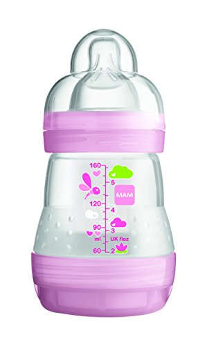 Mam-Anti-Colic-Baby-Bottle-160ml-0-6-Months-Flow-1-Colour-Transparent-pink