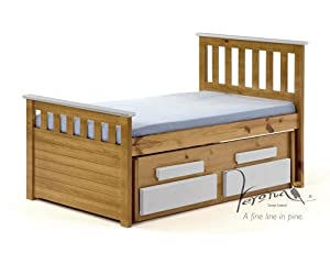 KIDS PINE / WHITE CABIN BED WITH UNDERBED & 2 SPRUNG MATTRESSES, SHORTER LENGTH, FROM CENTURION PINE