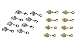 SPARIK ENJOY (TM) 8 sets Gold and 8 sets Sliver Magnetic Jewelry Clasps - Rhinestone Ball Style with Lobster Clasp