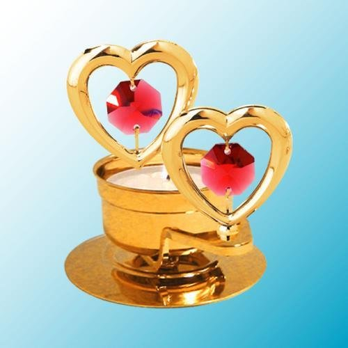 24K Gold Plated Twin Hearts Tea-Light..... With Red Swarovski Austrian Crystal