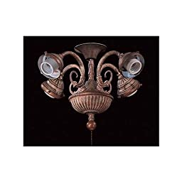 Curly Cue Four Light Branched Universal Ceiling Fan Light Kit Finish: Antique Bronze