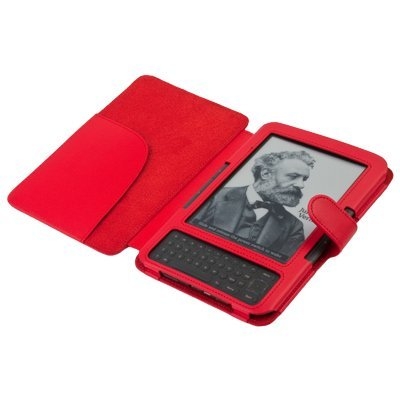 Faux Leather Cover for Amazon Kindle 3 Ebook Reader (Red)