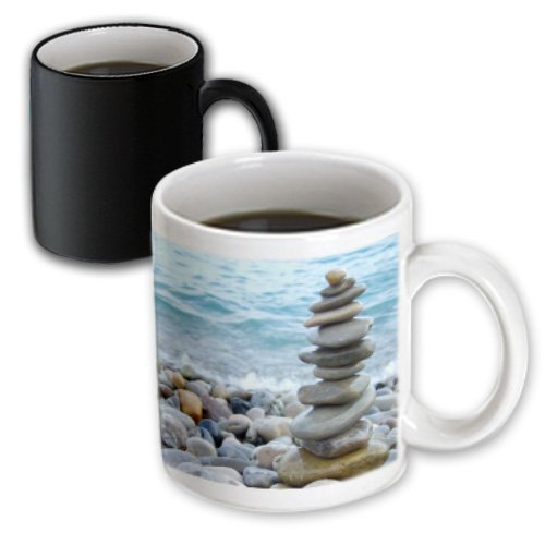Inspirationzstore Photography - Zen Stone Tower On Pebble Beach - Peaceful Harmony - Stacked Shiny Round Ocean Sea Rocks - Balance - 11Oz Magic Transforming Mug (Mug_157790_3)