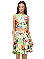 Xoxo Green Floral Crop Top
