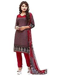 SareeShop Women's Georgette Semi-Stitched Dress Material (B2B3008_Red_Free Size)
