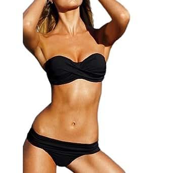 Zicac - 2PCS Nouveau Fashion Maillot De Bain Bikini Swimwear Sexy Avec Garniture Très Populaire (S, Noir)