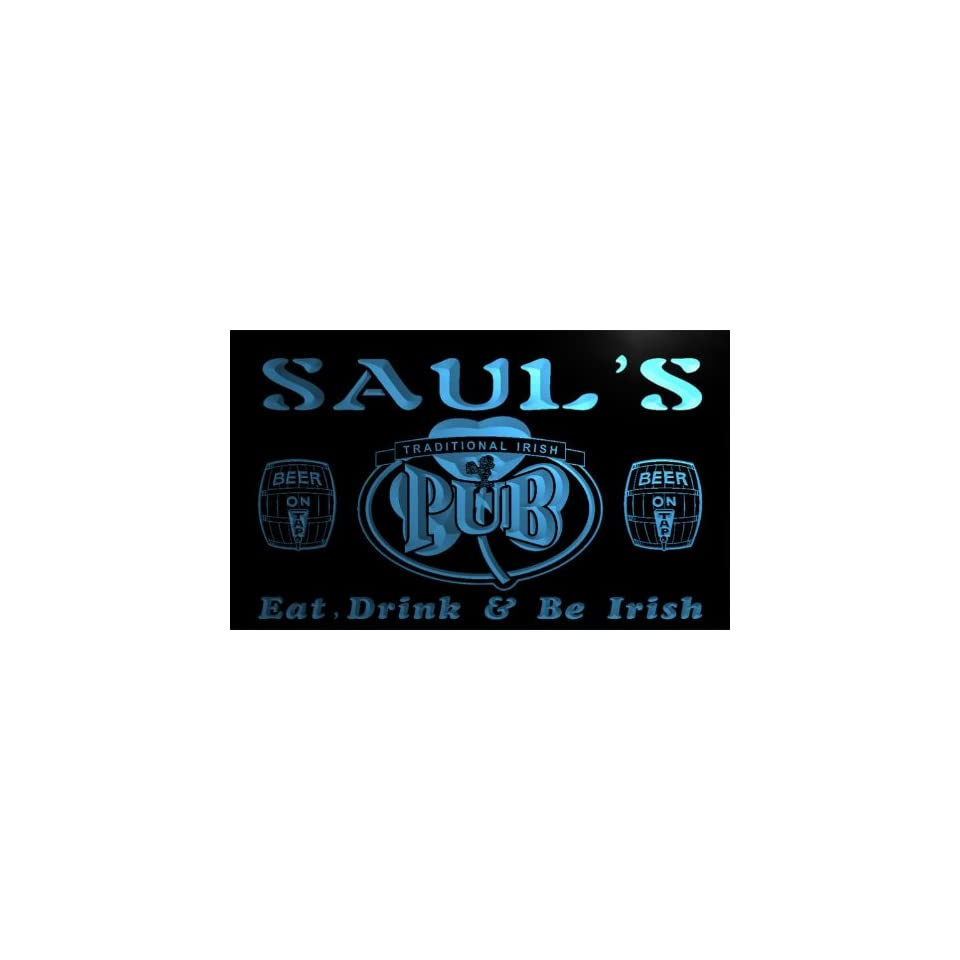 pa476 b Sauls Irish Shamrock Home Pub Bar Beer Neon Light Sign