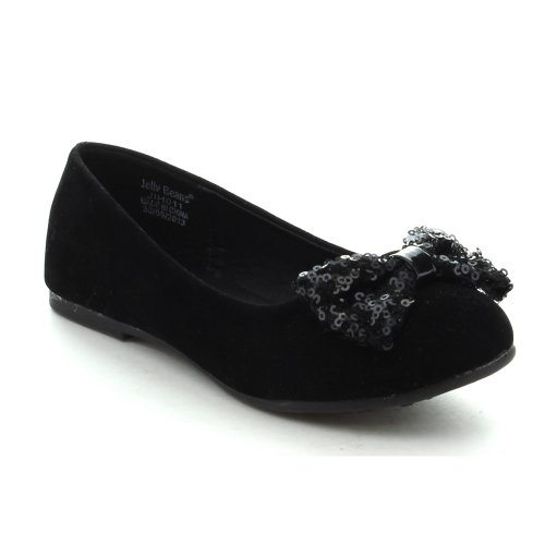 Jelly Beans Eta Youth Kid'S Girls Hot New Slip On Bow Ballet Flats Dress Shoes, Color:Black, Size:13
