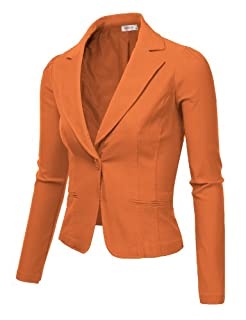 9XIS Womens Boyfriend Blazer,Pumpkin,Small
