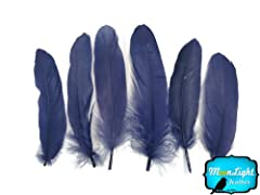 Moonlight Feather, Goose Feathers - Navy Blue Goose Satinettes Loose Feathers - 0.3 Oz.