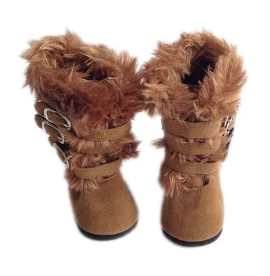 MODERN BROWN FUR BOOTS WITH FUR TRIM FOR AMERICAN GIRL DOLLS