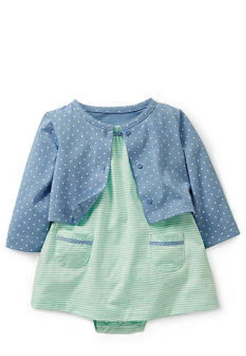 Carter'S Baby Girls' 2 Piece Dress Set With Pockets (Baby) - Turquoise - Newborn front-134164