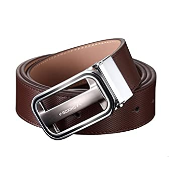 K-BOXING Mens Genuine Leather Belt Coffee Silver Buckle 115cm Length