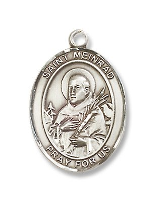 St. Meinrad of Einsideln Sterling Silver Medal with 18