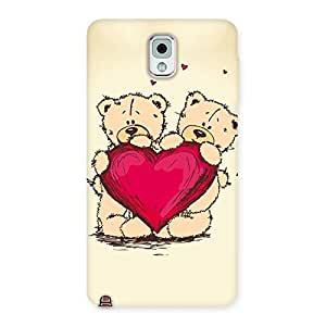 Impressive Cute Heart Twin Teddy Back Case Cover for Galaxy Note 3