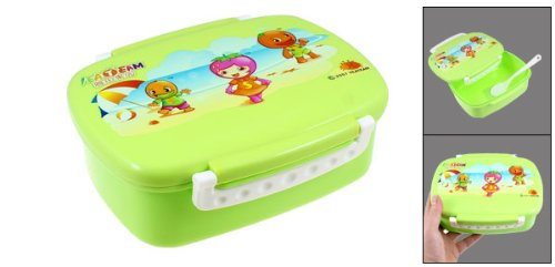Cartoon Pattern Lunch Box Food Container Holder Green w Spoon ocardian brand thermal insulated lunch box cooler bag tote bento pouch lunch container 4 color 03 0908