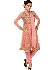 Exotic India Peach-Blossom Anarkali Suit With Antique Beadwork And Sequi - Peach