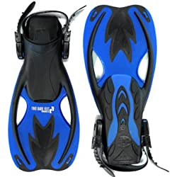 Two Bare Feet Kids Diving Fins Flippers - Snorkelling Scuba Dive (UK1 - 4, Blue)