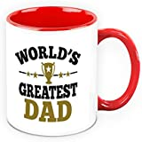 Fathers Day Gift - HomeSoGood World Greatest Dad White Ceramic Coffee Mug - 325 Ml