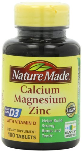 Nature Made Calcium, Magnesium, and Zinc with Vitamin D, With D-3 100 Tablets (Pack of 3)